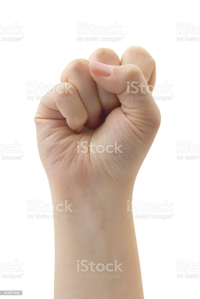 One closed fist isolated on white royalty-free stock photo