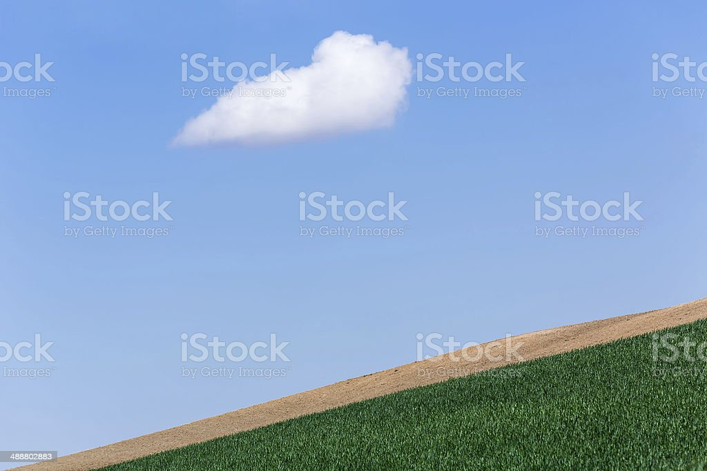 one cloud on the blue sky royalty-free stock photo