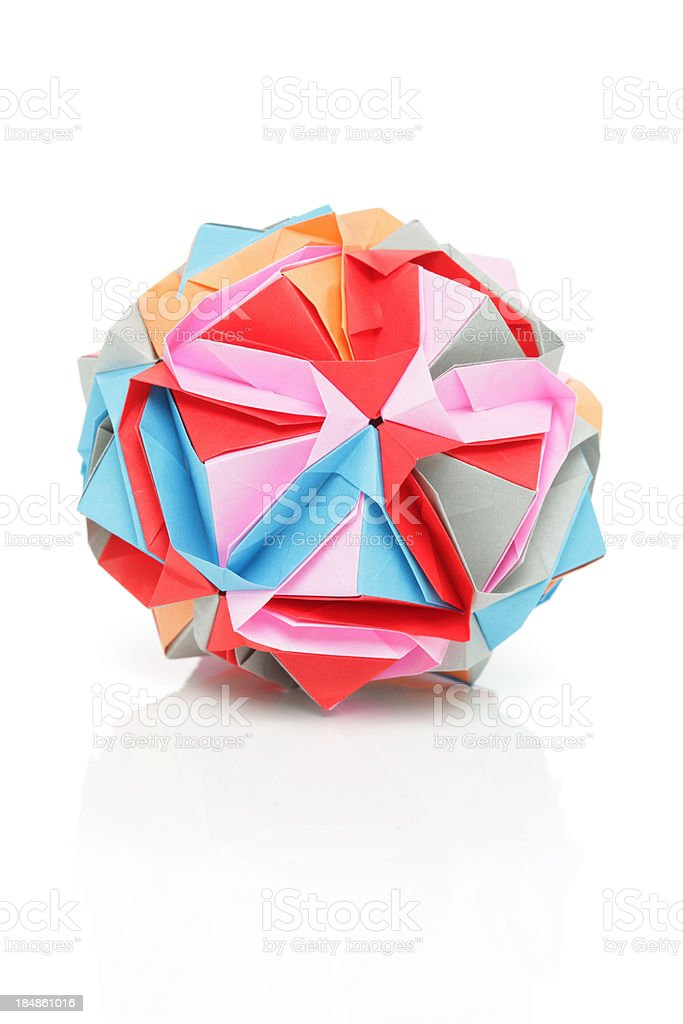 One colorful origami polyhedron paper craft design royalty-free stock photo