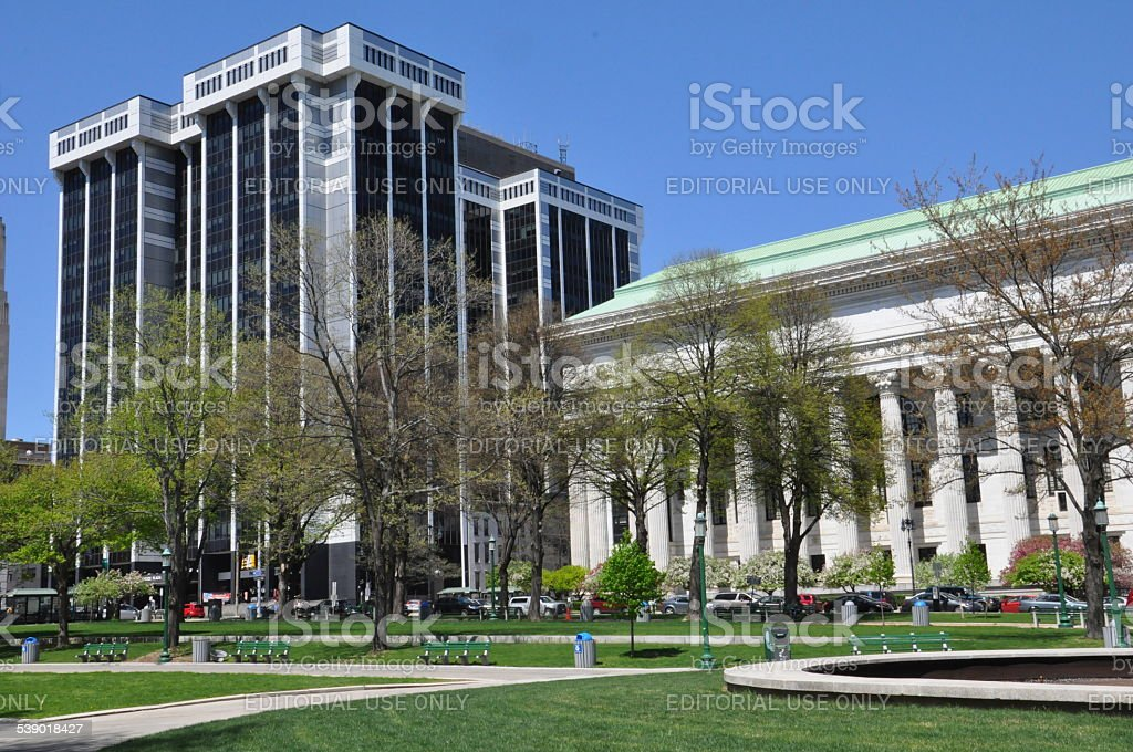 One Commerce Plaza and State Education Building in Albany stock photo