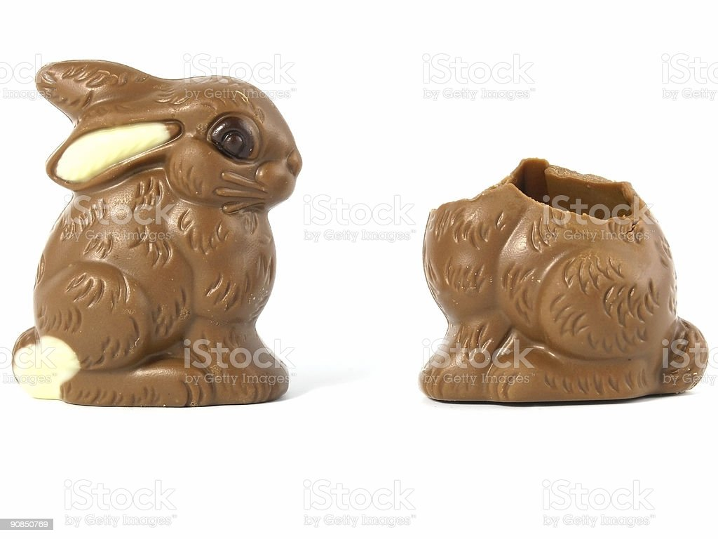 One complete chocolate Easter bunny and one half eaten stock photo