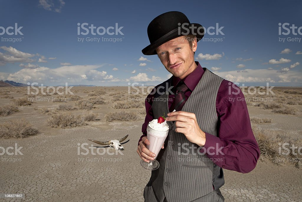 One Cool Dude Drinking A Milkshake stock photo