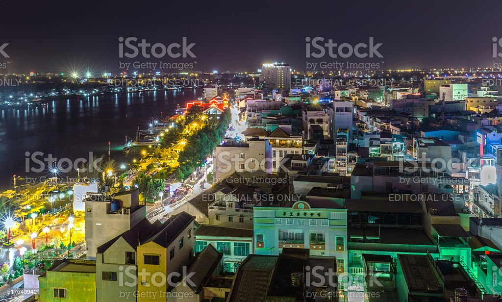 One corner the city of Can Tho peaceful night stock photo