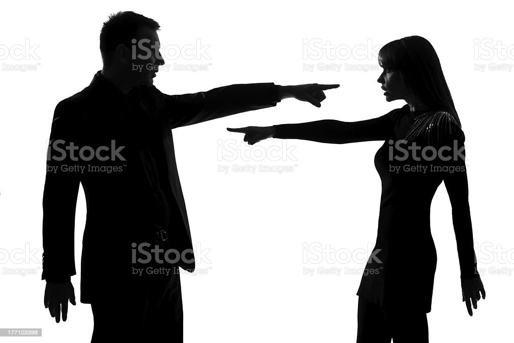 one couple man and woman Criticism concept stock photo