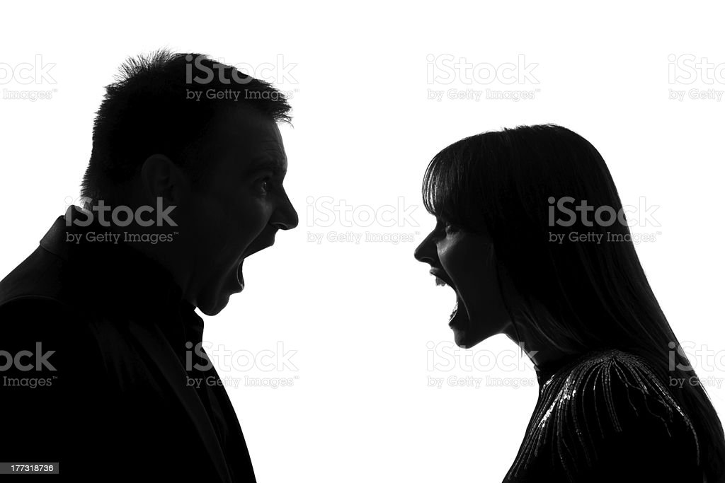 one couple man and woman screaming shouting dipute royalty-free stock photo