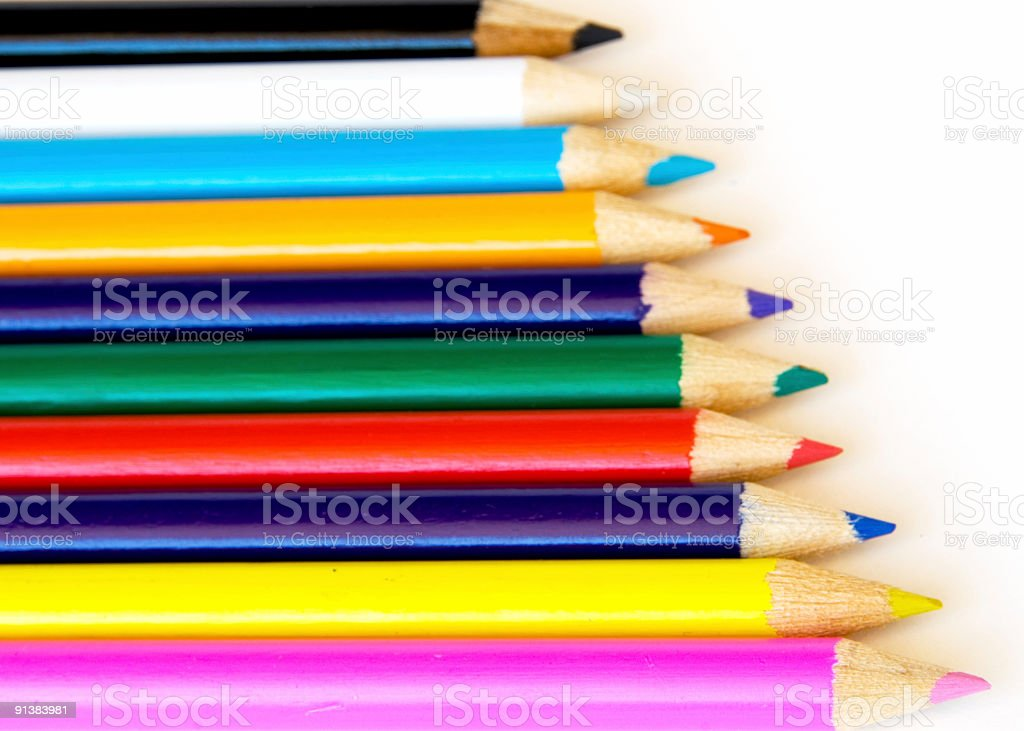 One credit only - Colorful pencils on white royalty-free stock photo