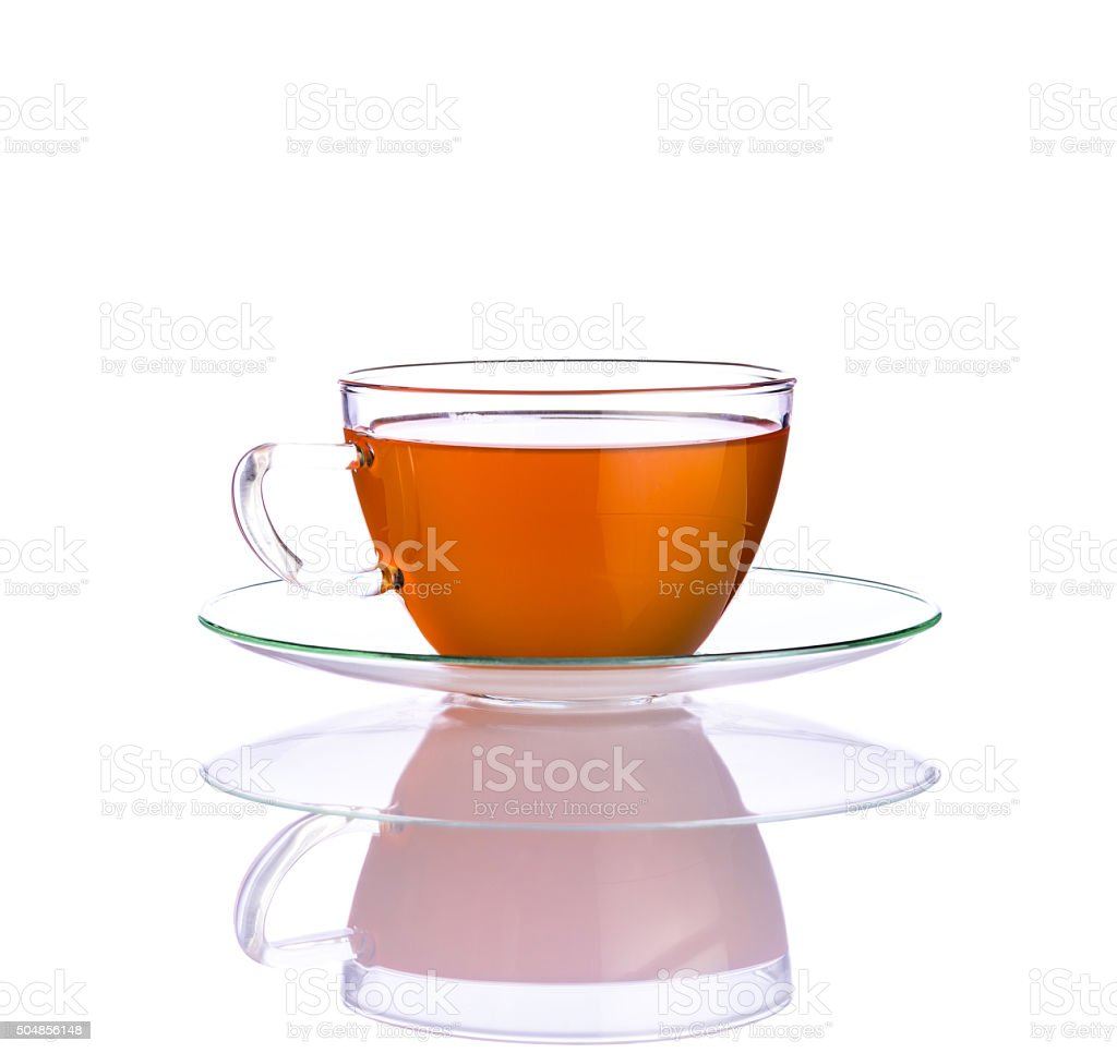 One Cup Fresh Tea on White Background stock photo