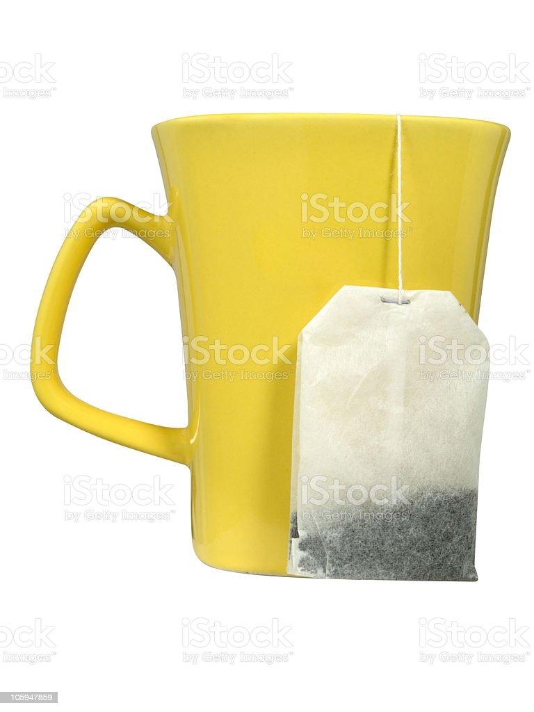 whit bolsa de una taza de té foto de stock libre de derechos