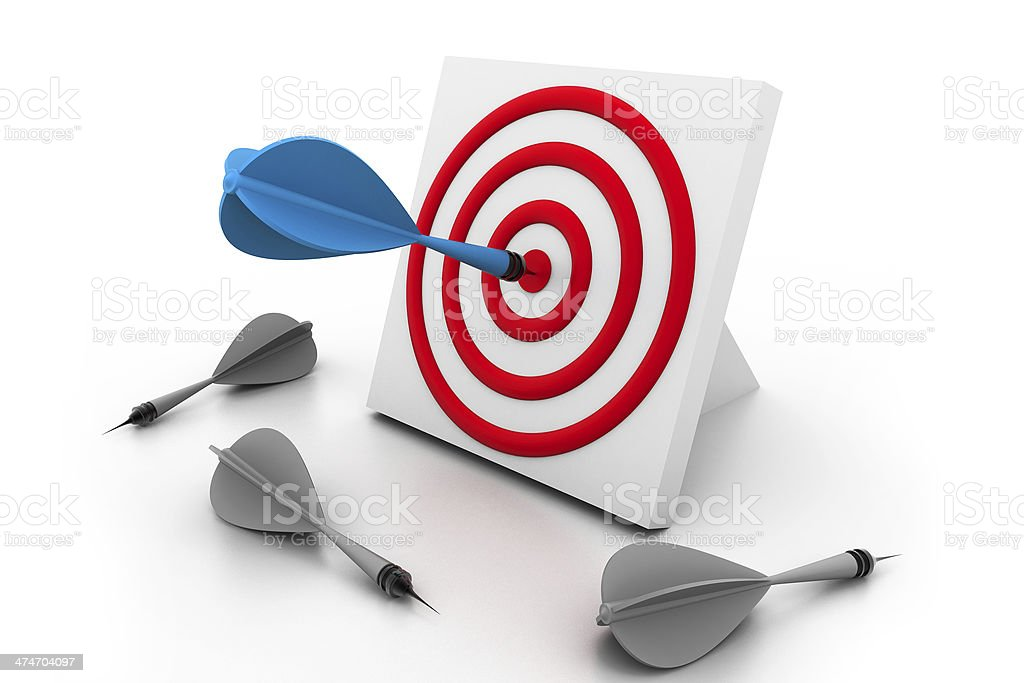 One dart hitting the target royalty-free stock photo