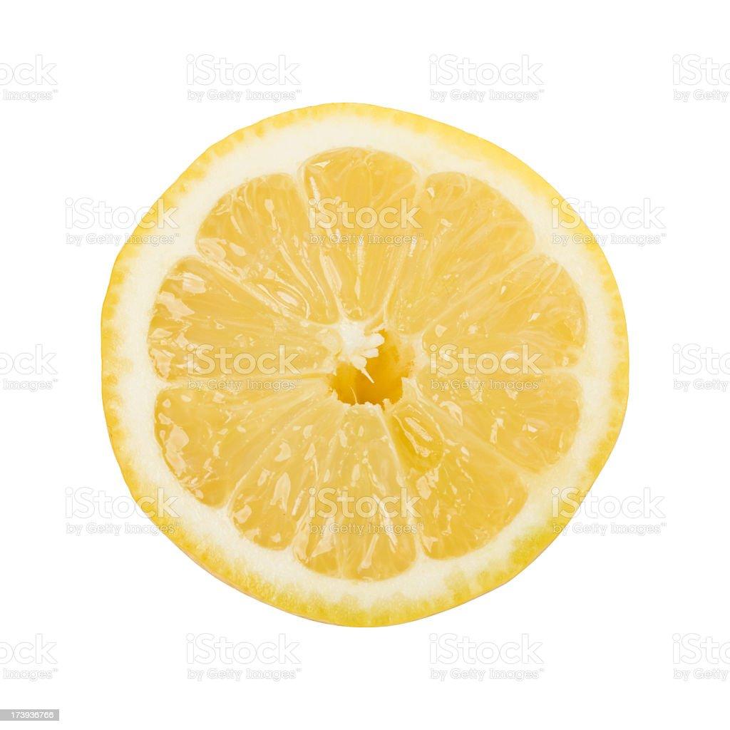 One delicious yellow lemon slice stock photo