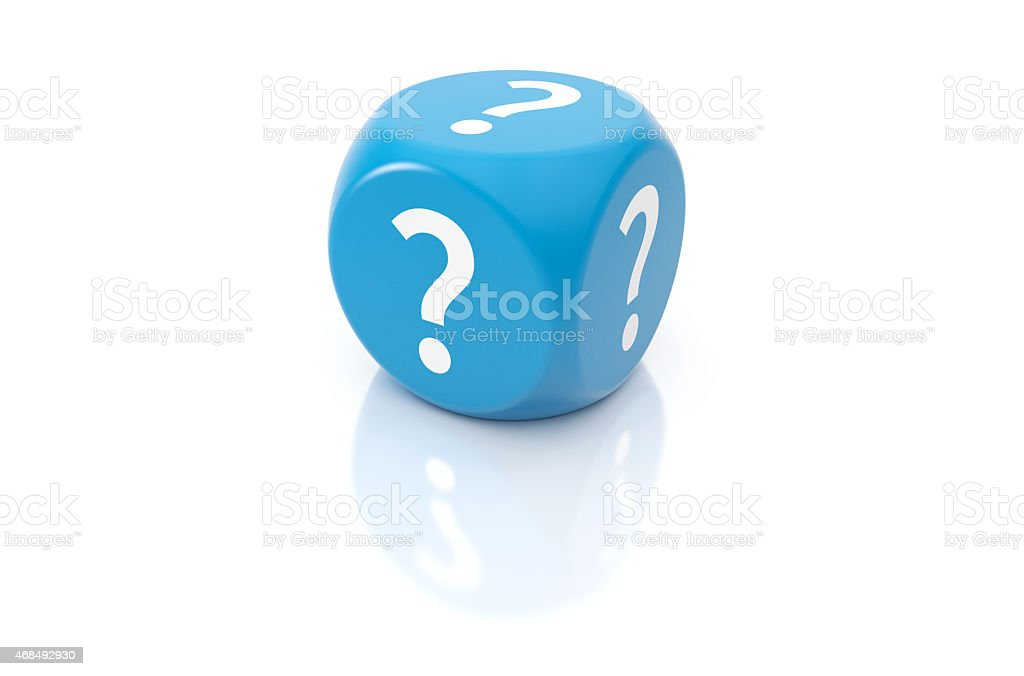 One die with question marks stock photo