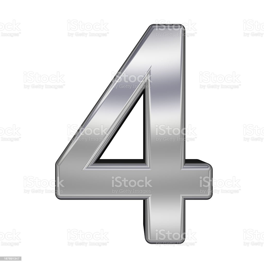 One digit from chrome alphabet set royalty-free stock photo