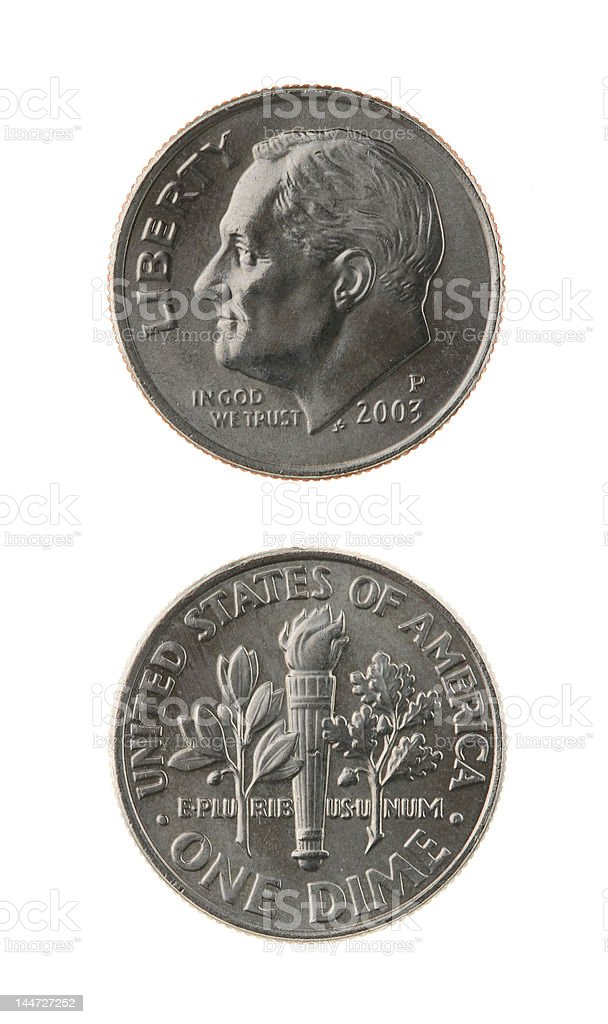 US One Dime Coin Isolated on White stock photo