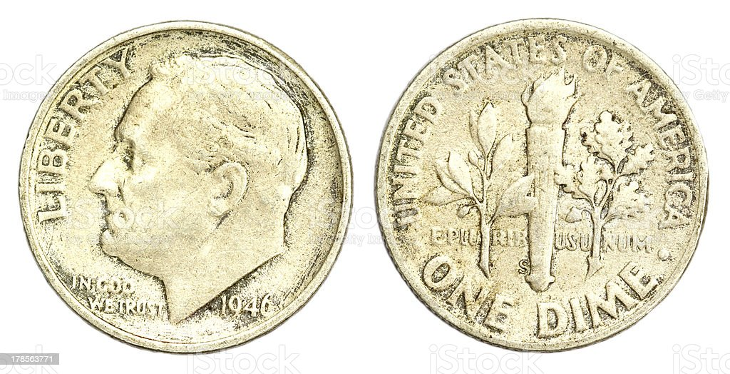 One Dime Coin of USA royalty-free stock photo