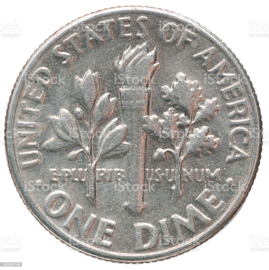 one dime coin stock photo