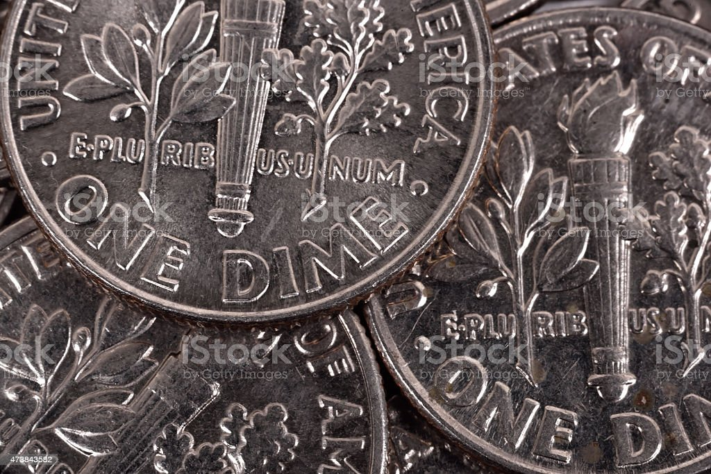 one dime coins stock photo