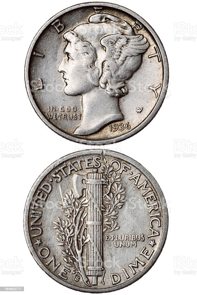 One Dime-1936 stock photo