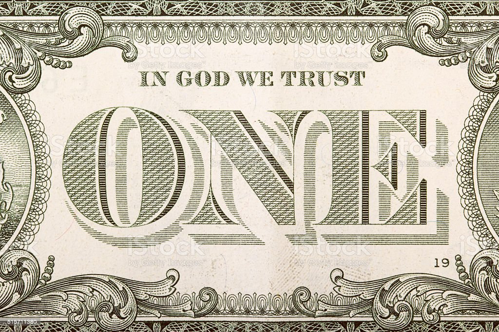 One dollar banknote detail stock photo