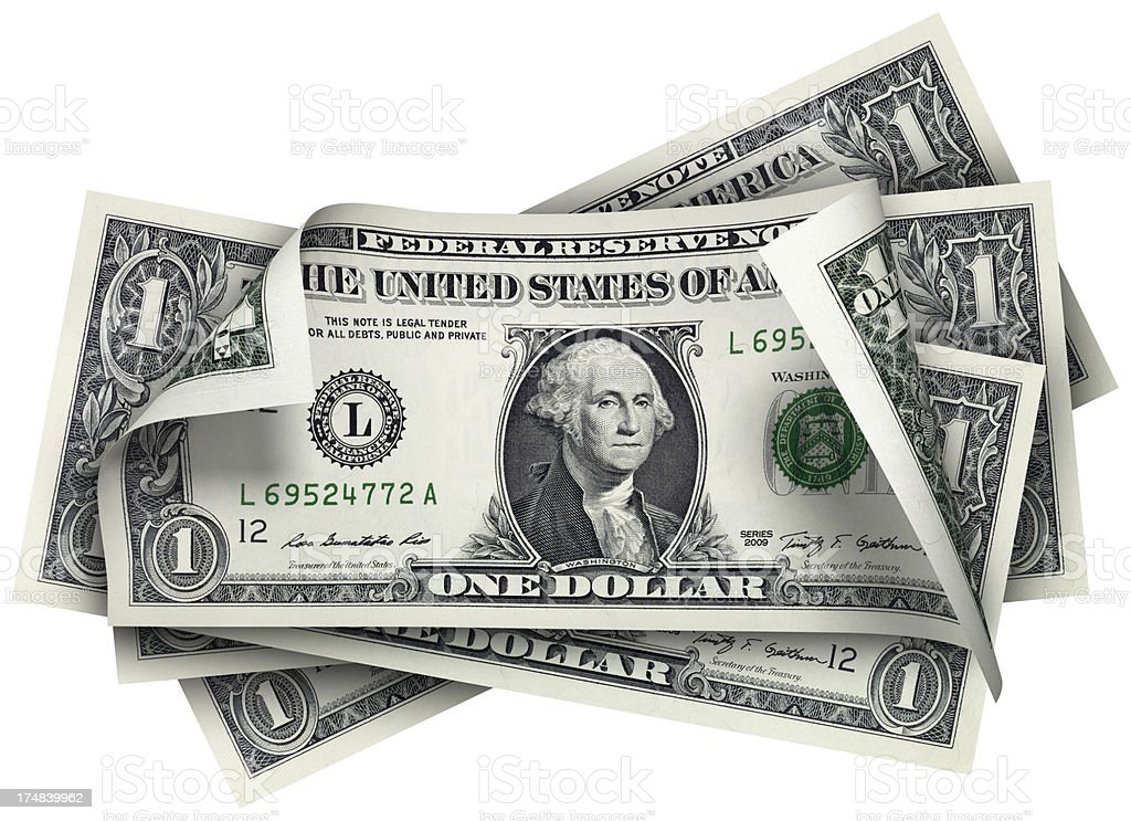 One Dollar banknotes stock photo