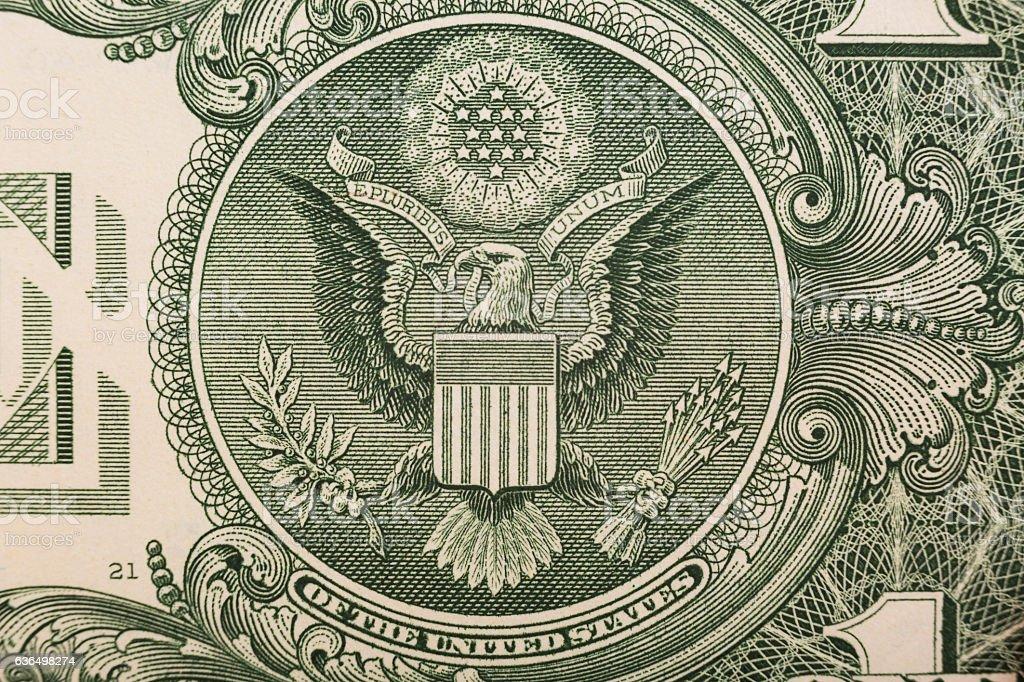 One dollar bill close up stock photo