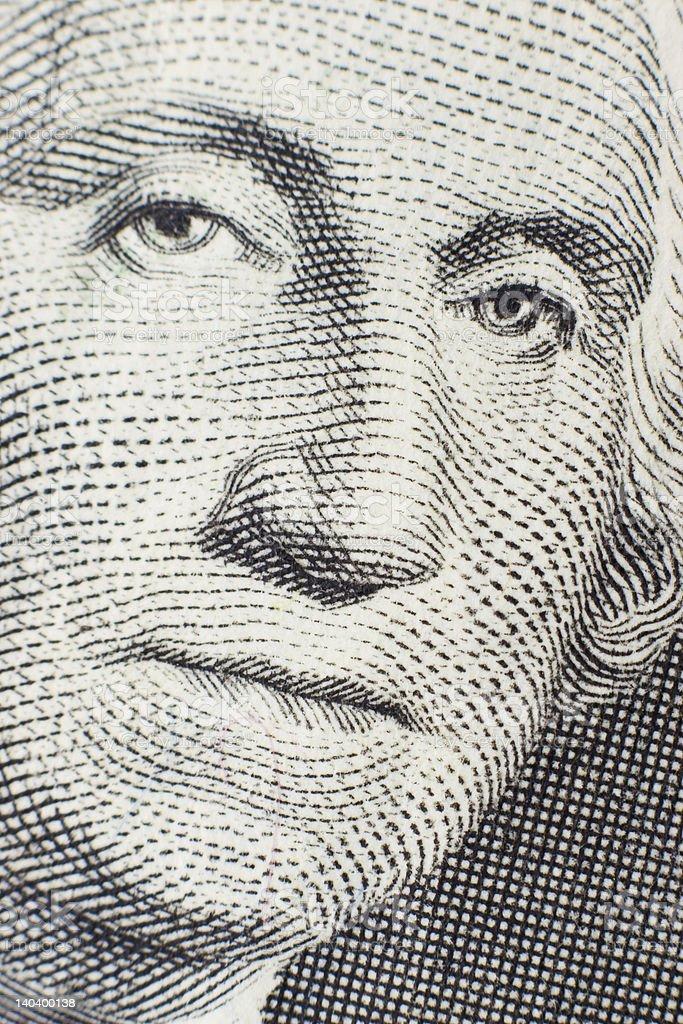 One dollar bill closeup stock photo