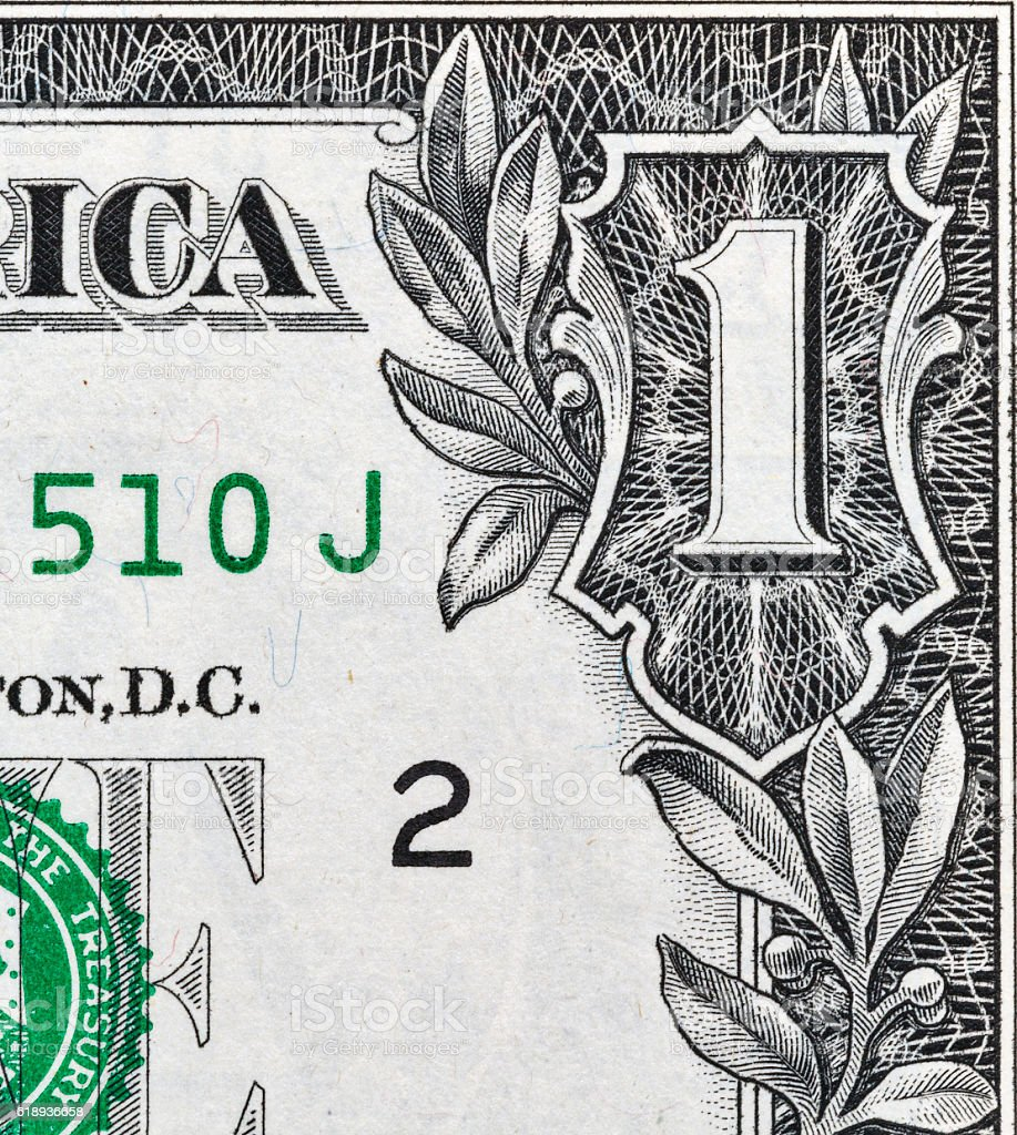 US one dollar bill corner, closeup stock photo