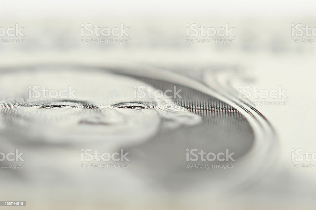 one dollar bill - eyes of George royalty-free stock photo