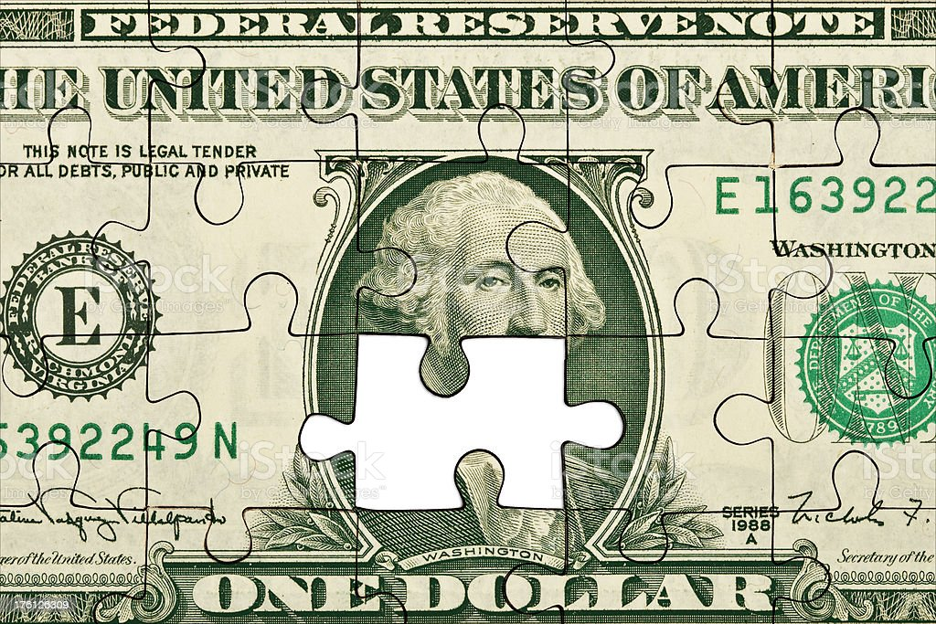 One dollar bill puzzle royalty-free stock photo