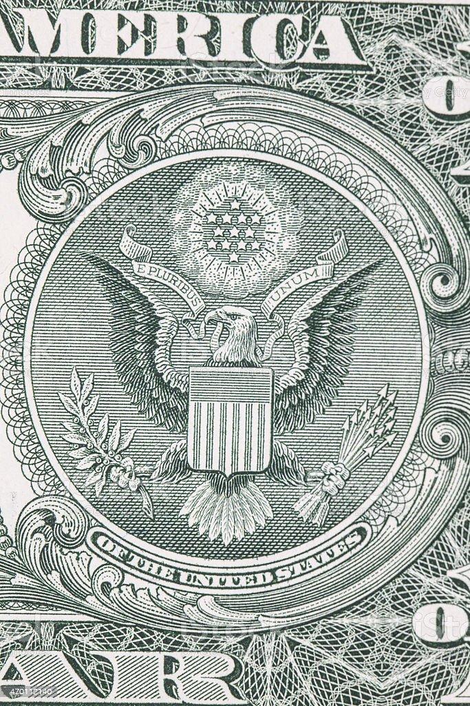 one dollar bill reverse macro stock photo
