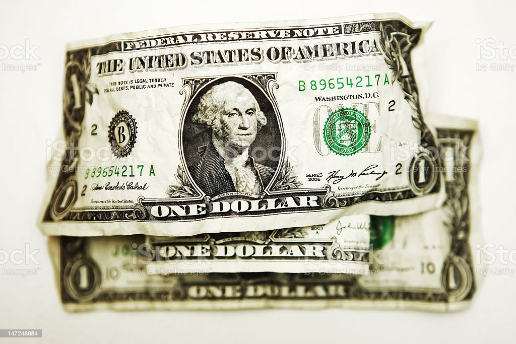 U.S. One Dollar Bills royalty-free stock photo