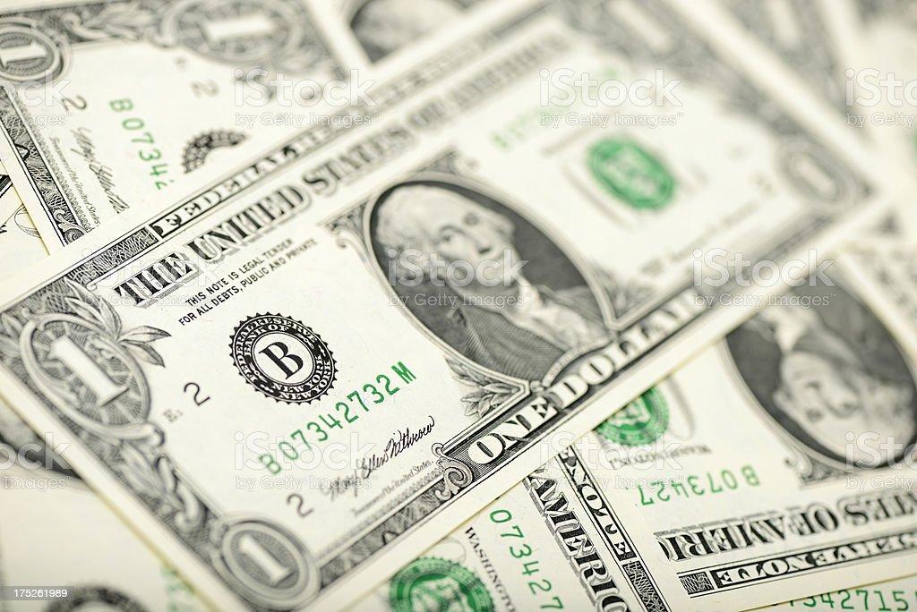 One dollar bills royalty-free stock photo
