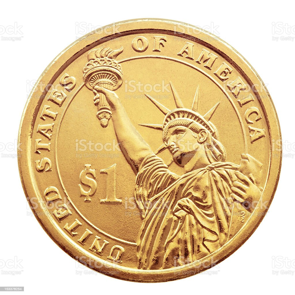 One dollar coin. stock photo