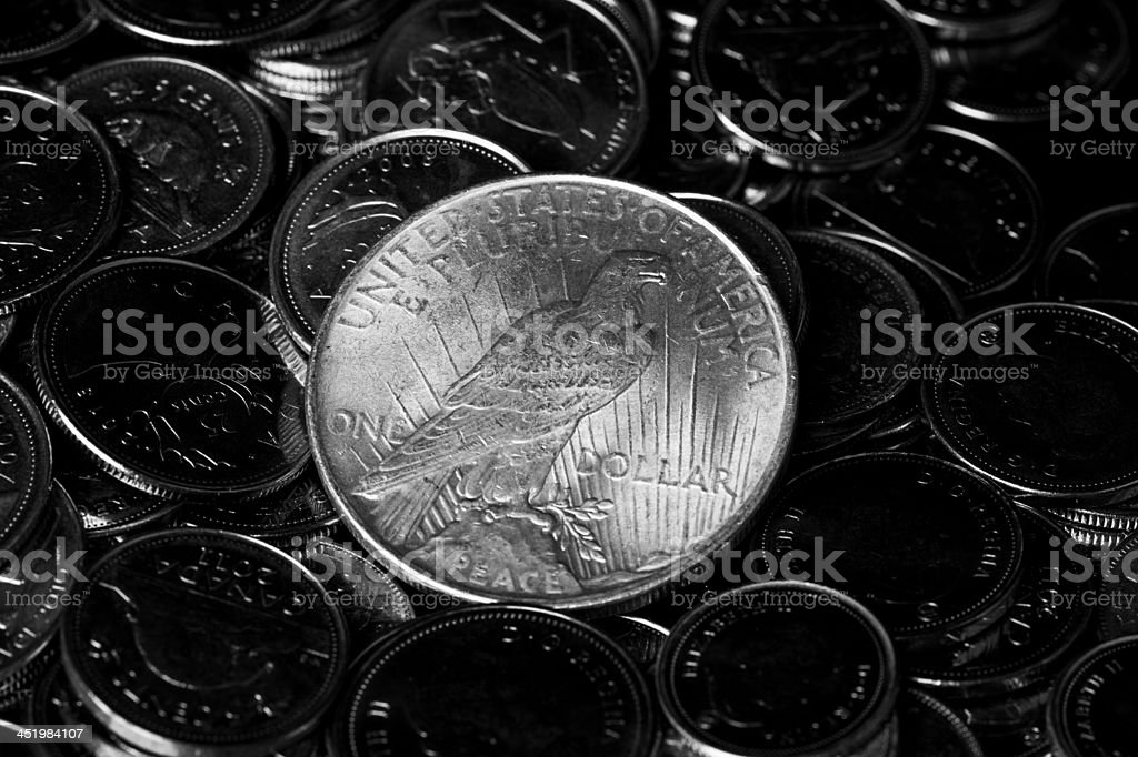 US one dollar coin stock photo