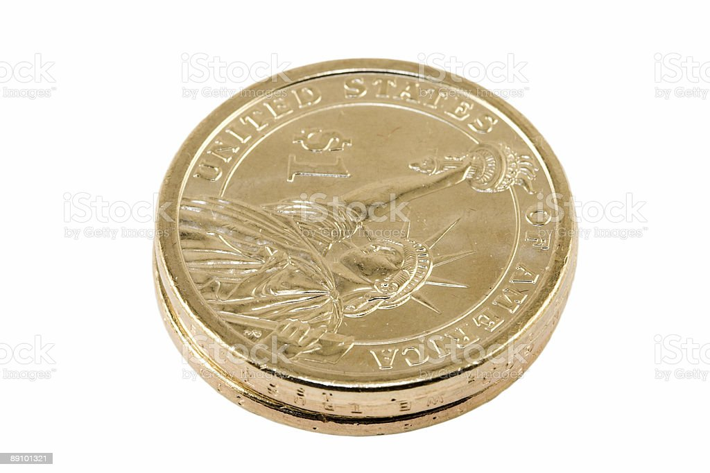 One dollar coins stock photo
