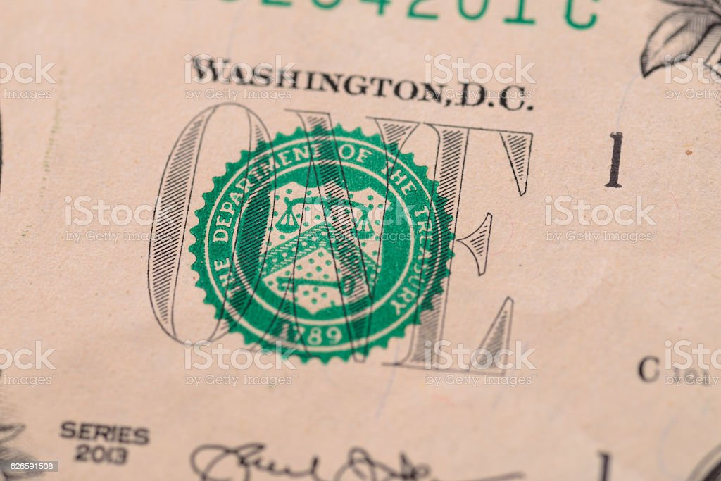 US one dollar, detail view. stock photo