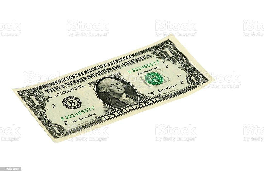 One dollar isolated on white background stock photo