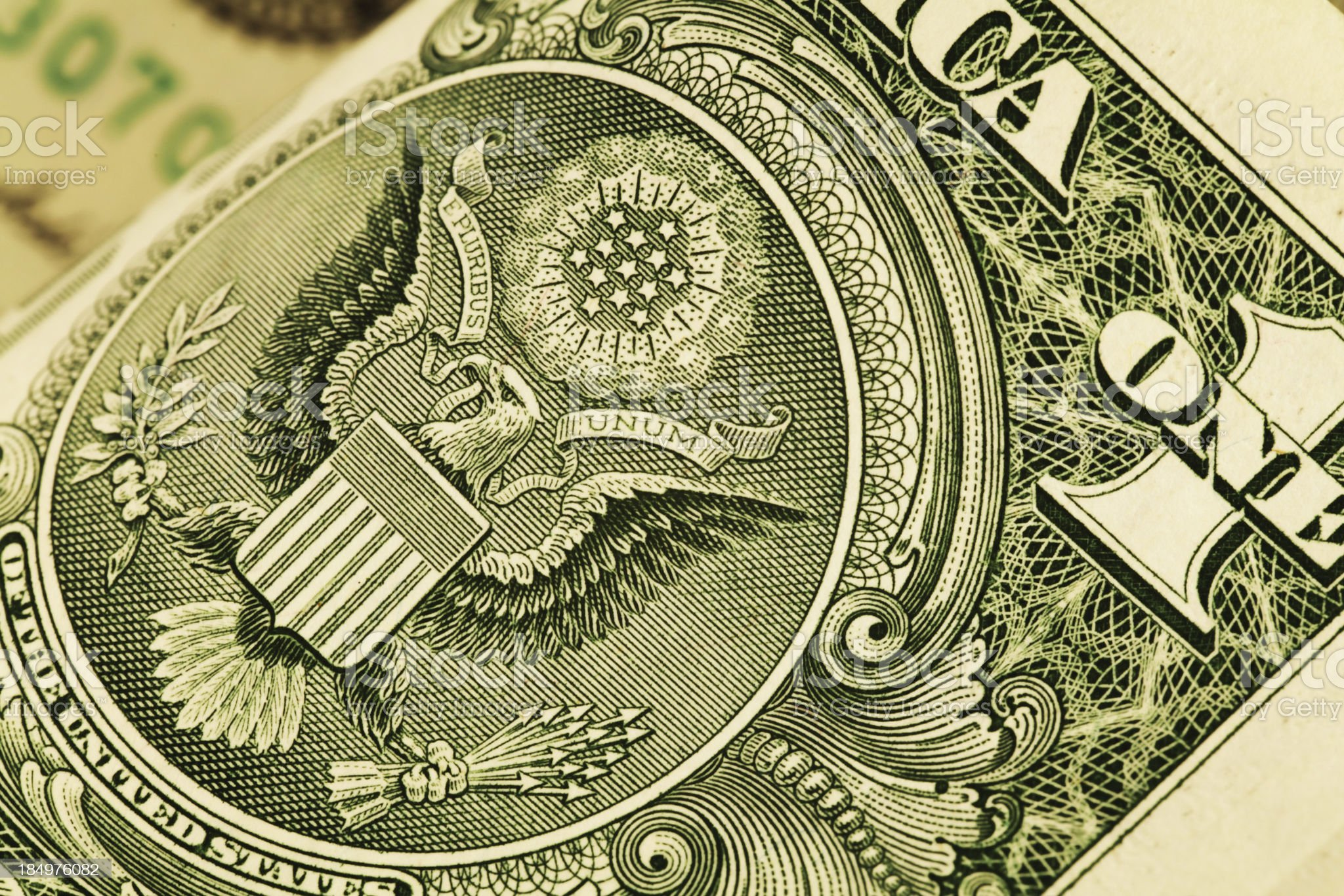 US One Dollar Paper Bill Detail Great Seal of USA royalty-free stock photo