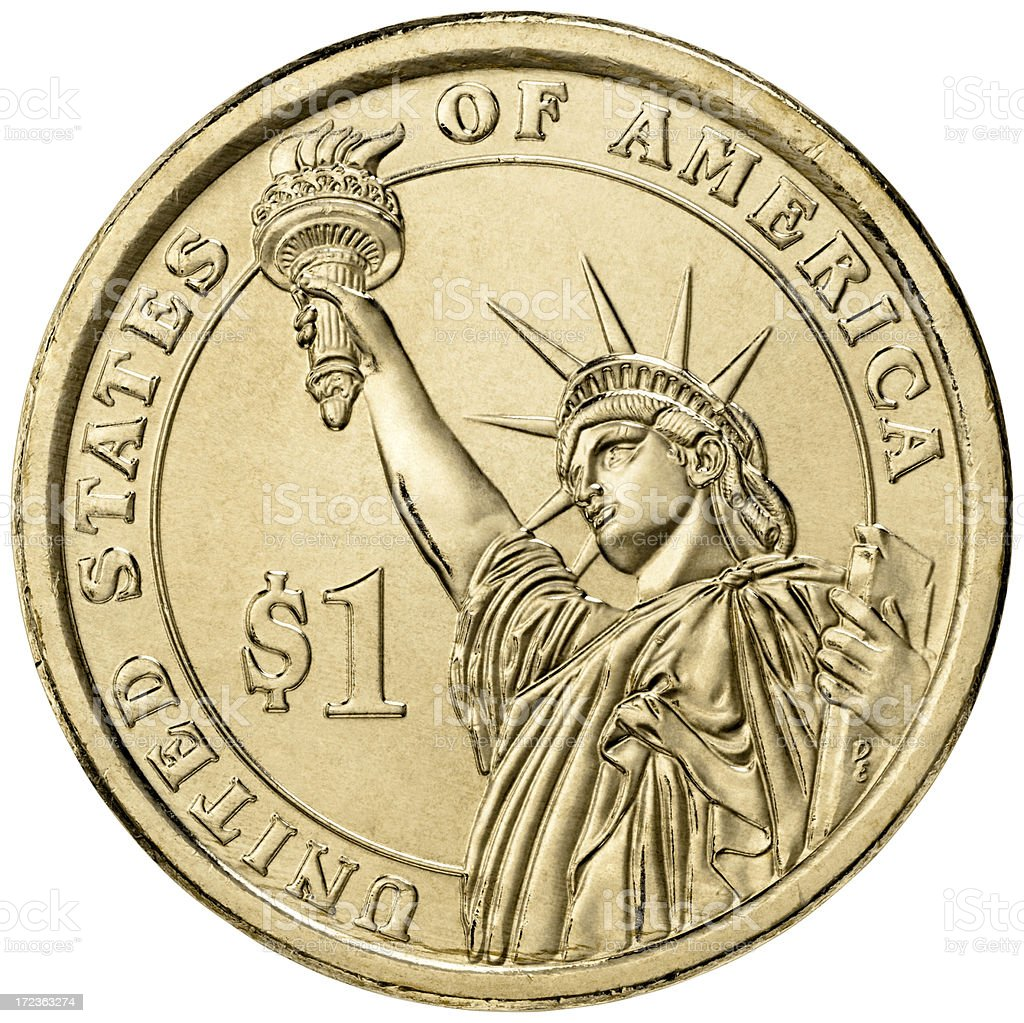 One dollar US coin stock photo