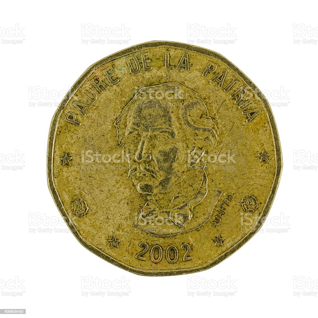 one Dominican peso coin (2002) isolated on white background stock photo