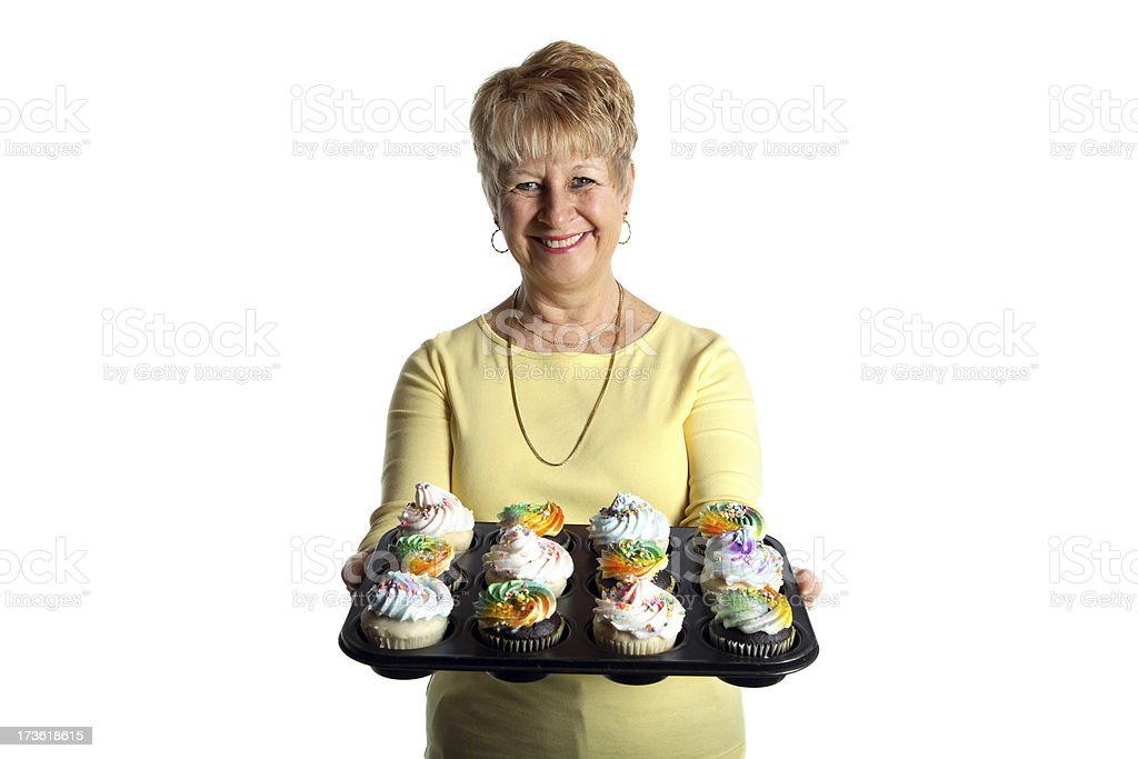One dozen cupcakes. stock photo