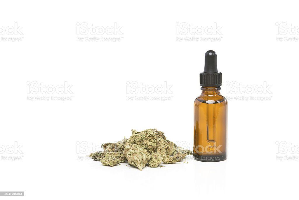 One dropper bottle with cannabis hemp oil stock photo