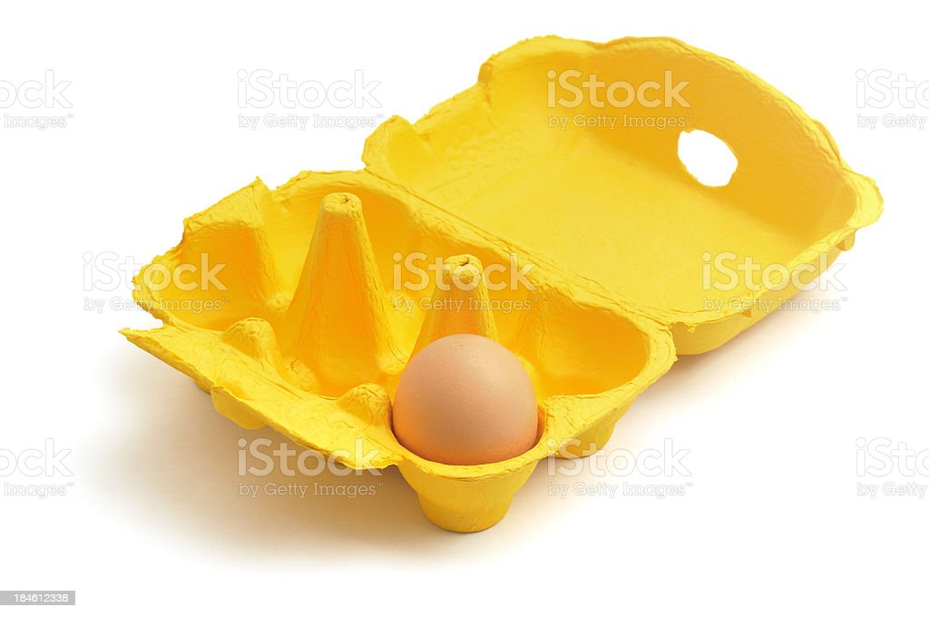 One egg in an eggbox royalty-free stock photo