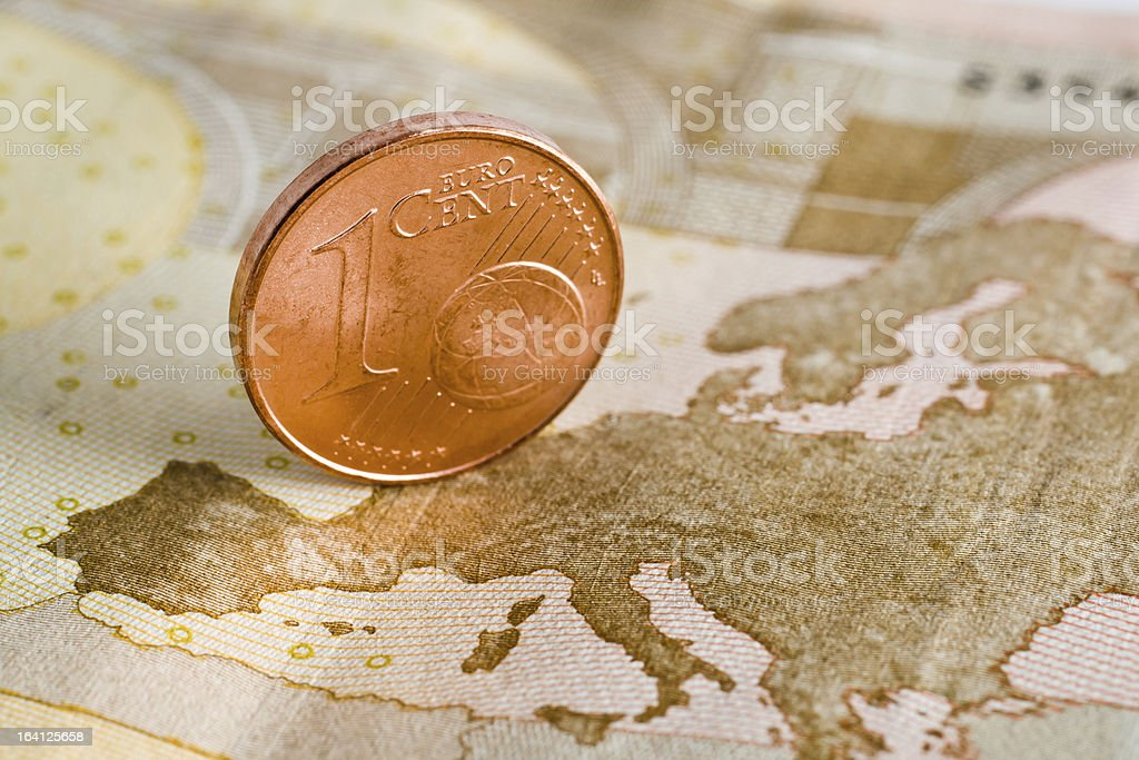 One euro cent on a banknote royalty-free stock photo