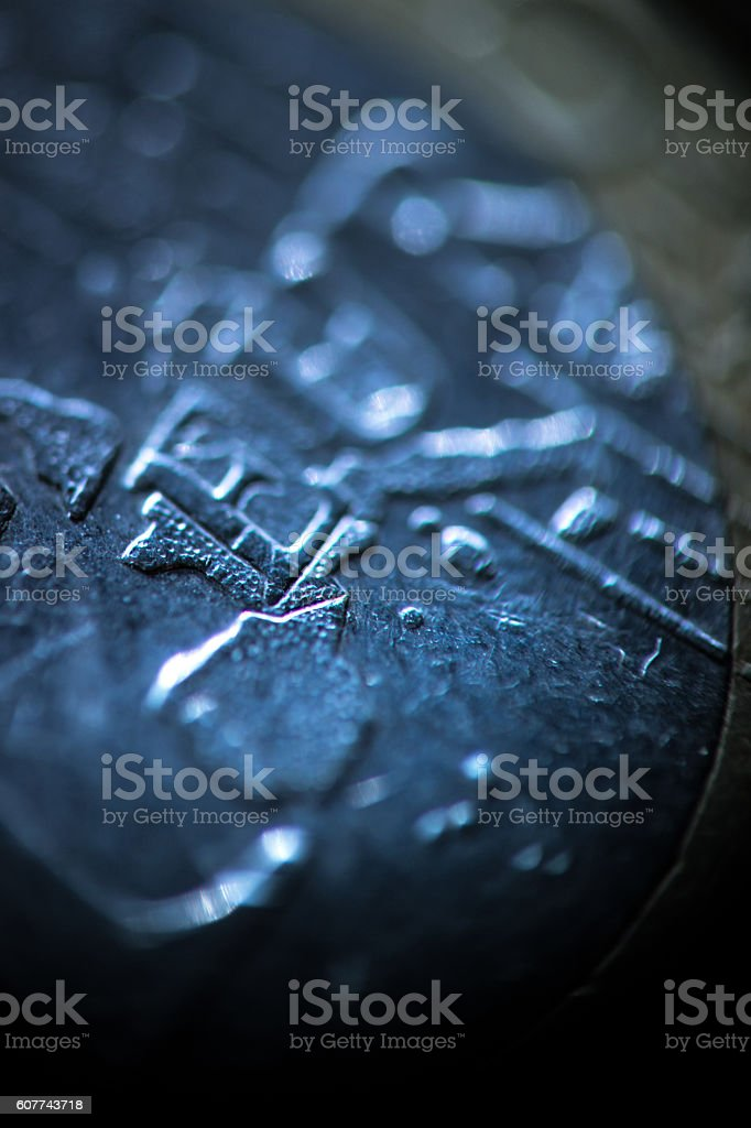 One Euro Coin Close Up stock photo