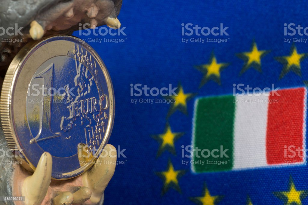 One Euro coin, Flag of Italy stock photo