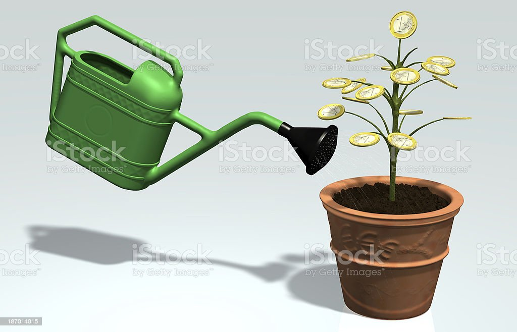 One euro money little tree watered in a vase royalty-free stock photo