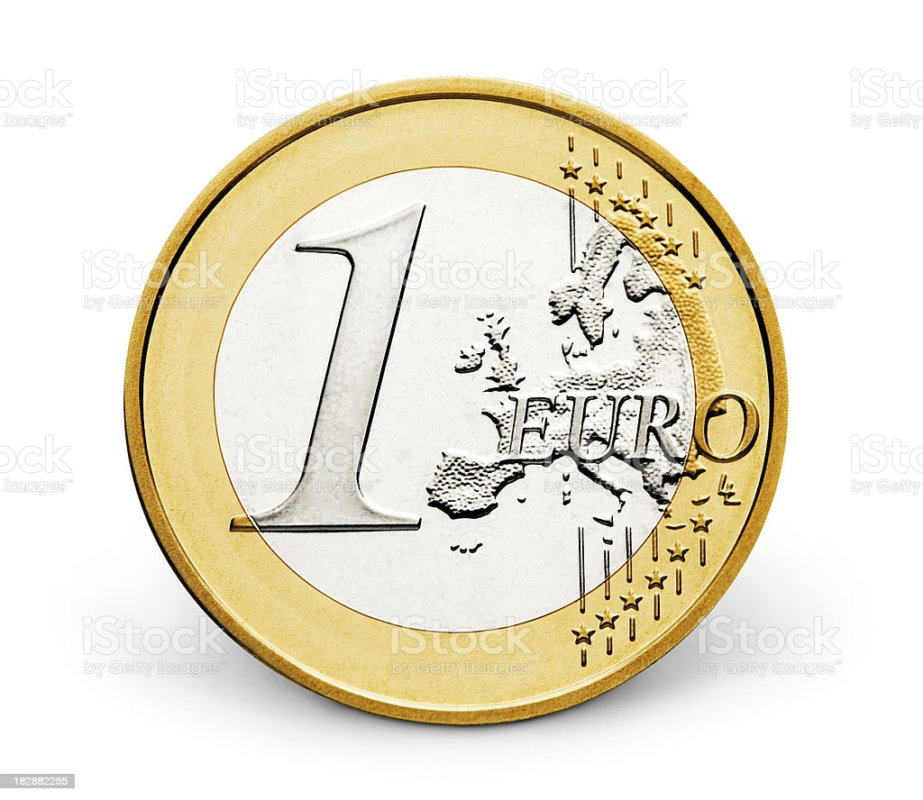 One euro (CLIPPING PATH INCLUDED) royalty-free stock photo