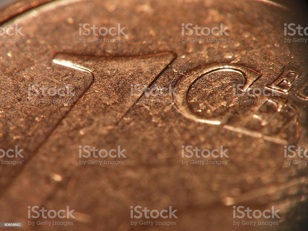 One EuroCent - macro stock photo