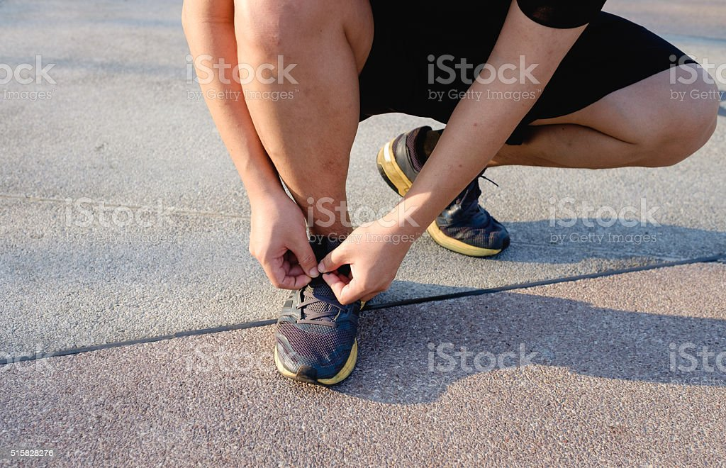 one fat man start running for healthy stock photo