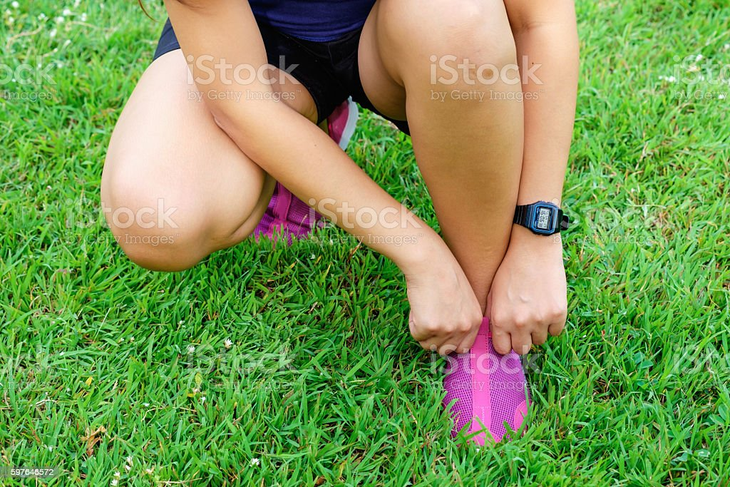 one fat woman start running for healthy stock photo